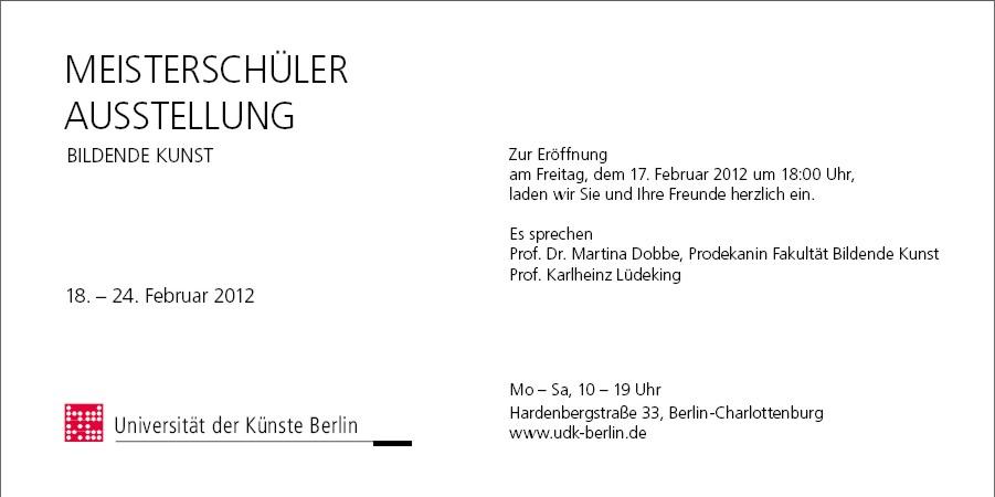 Flyer Meisterschülerausstellung